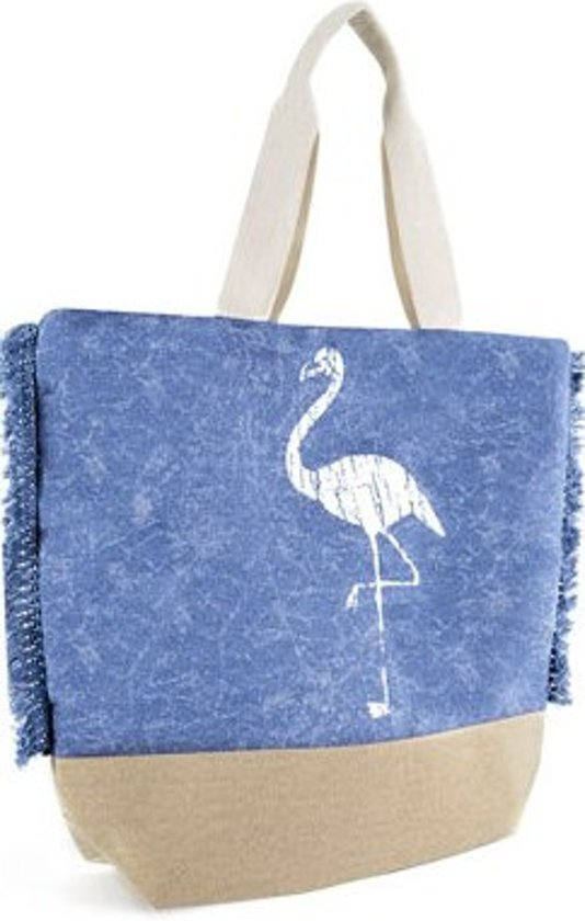 Luna Cove FLAMINGO Strandtas Shopper Canvas Blauw Trendy