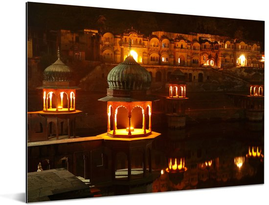 Stadspaleis van Alwar in Jaipur bij zonsondergang in Azië Aluminium 160x120 cm - Foto print op Aluminium (metaal wanddecoratie) XXL / Groot formaat!