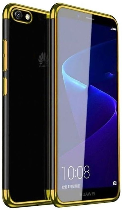 Teleplus Huawei Y5 2018 Luxury Laser Silicone Case Gold + Full Closure Glass hoesje