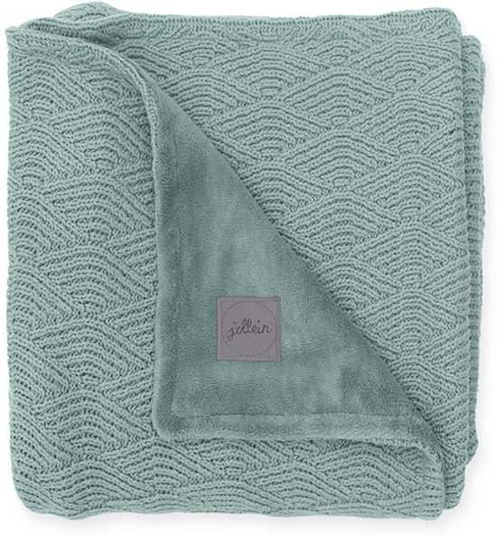 Jollein Deken 75x100cm River knit ash green/coral fleece