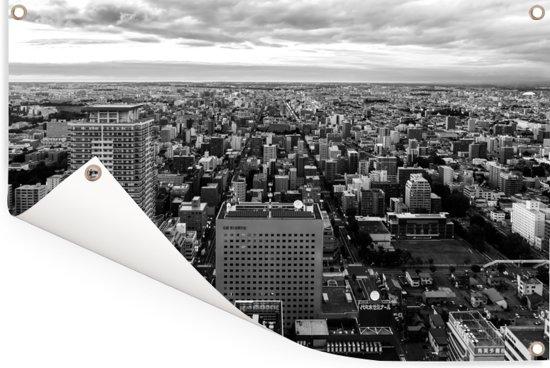 Zwart-wit foto van Sapporo in de Japanse prefectuur Hokkaido Tuinposter 180x120 cm - Tuindoek / Buitencanvas / Schilderijen voor buiten (tuin decoratie) XXL / Groot formaat!
