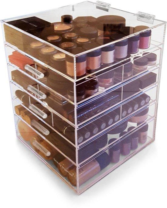 BO Make up organizer Kardashian Clear Cube 5 lades - Transparant Acryl