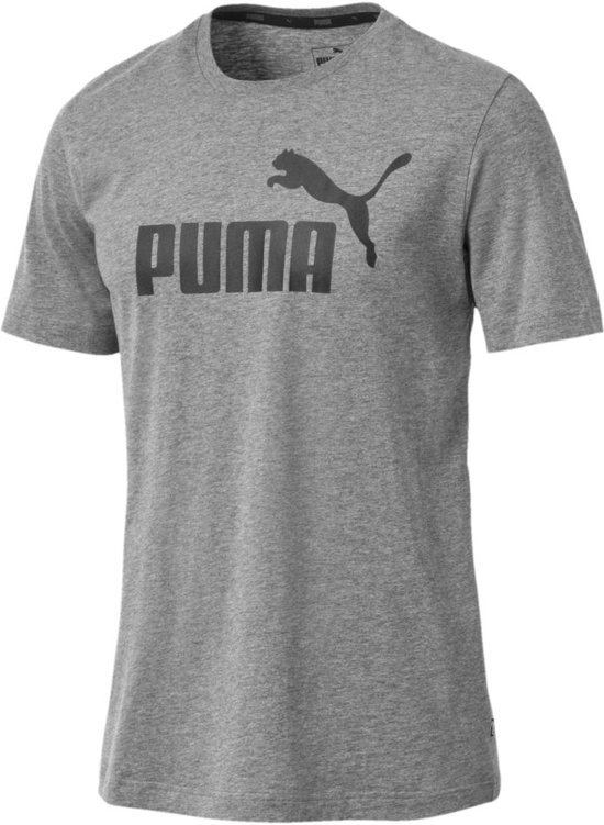PUMA ESS Big Logo Tee Sportshirt Heren - Medium Gray Heather