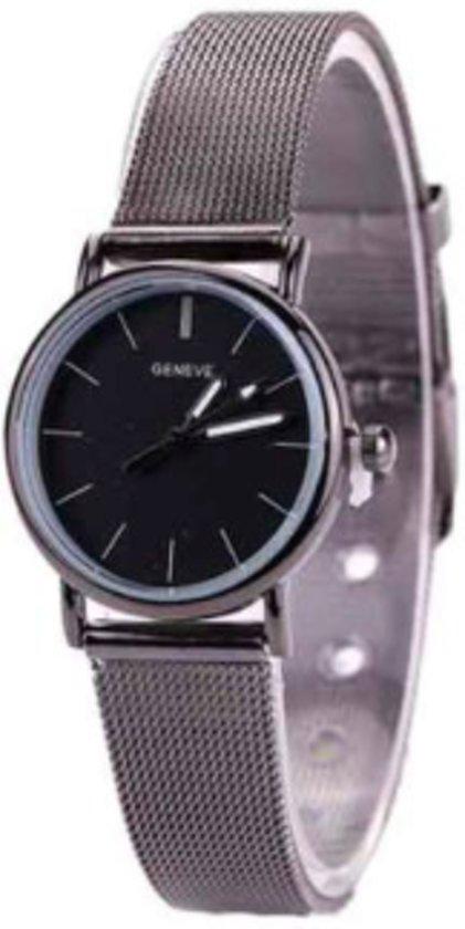 Hidzo Horloge Geneve ø 37 mm - Zilver/Zwart - Inclusief horlogedoosje
