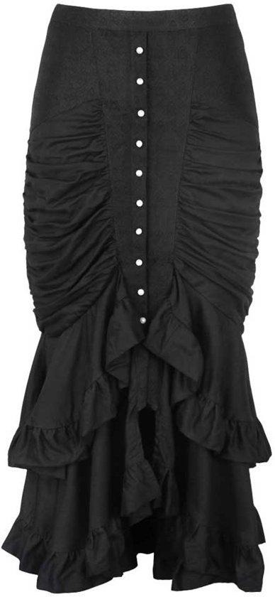 9f6b23f58366ef Gothic lange mermaid rok met ruffle detail zwart - Steampunk Vintage - L -  VG London