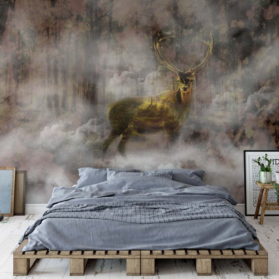 Fotobehang Forest Stag In The Mist | VEP - 250cm x 104cm | 130gr/m2 Vlies