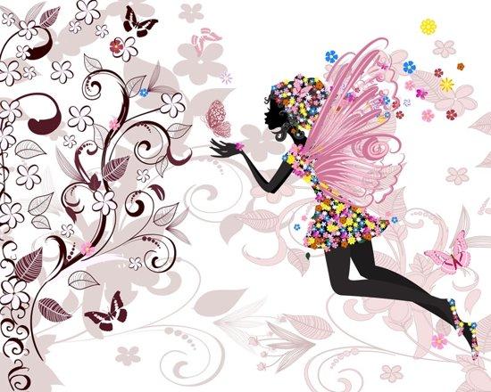 DP® Diamond Painting pakket volwassenen - Afbeelding: Flower Fairy - 60 x 75 cm volledige bedekking, vierkante steentjes - 100% Nederlandse productie! - Cat.: Fantasy & Sprookjes