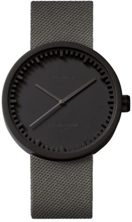 LEFF amsterdam tube watch D42 LT72015 - Black - Grey cordura strap - Cordura - Zwart/Grijs -  Ø 42mm