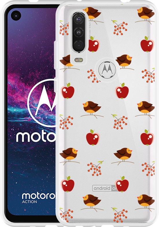 Motorola One Action Hoesje Apples and Birds