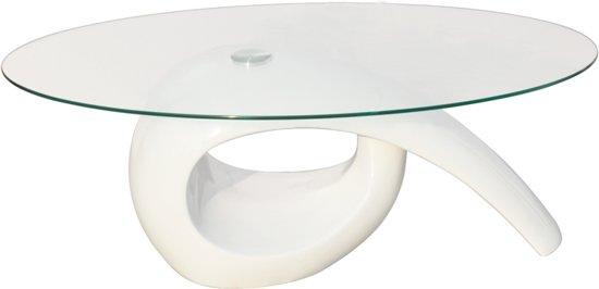 Hoogglans Wit Tafelblad.Salontafel Met Ovaal Glazen Tafelblad Hoogglans Wit