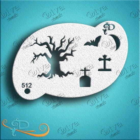 Sjabloon Halloween.Diva Scary Tree Stencil Schmink Sjabloon Halloween Grime