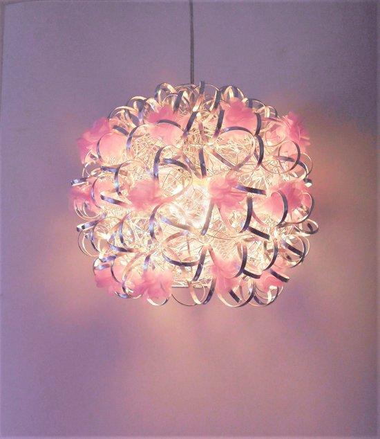 Funnylight Vrolijk zilver - design hanglamp met pastel roze bloemen