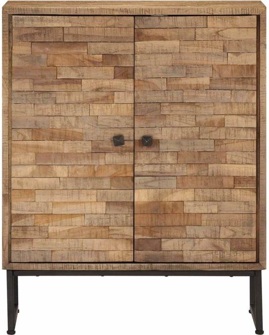 Wandkast Kast Muurkast Met Deuren Planken Plank 60x30x75cm Hout Bruin Gestreept