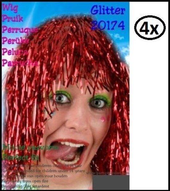 4x Lurex folie pruik rood