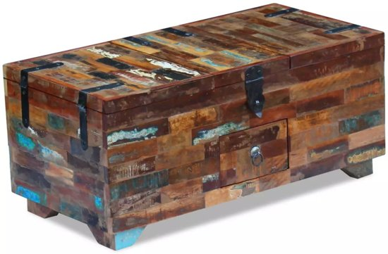 Massief Houten Dekenkist.Salontafel Kist Massief Gerecycled Hout 80x40x35 Cm