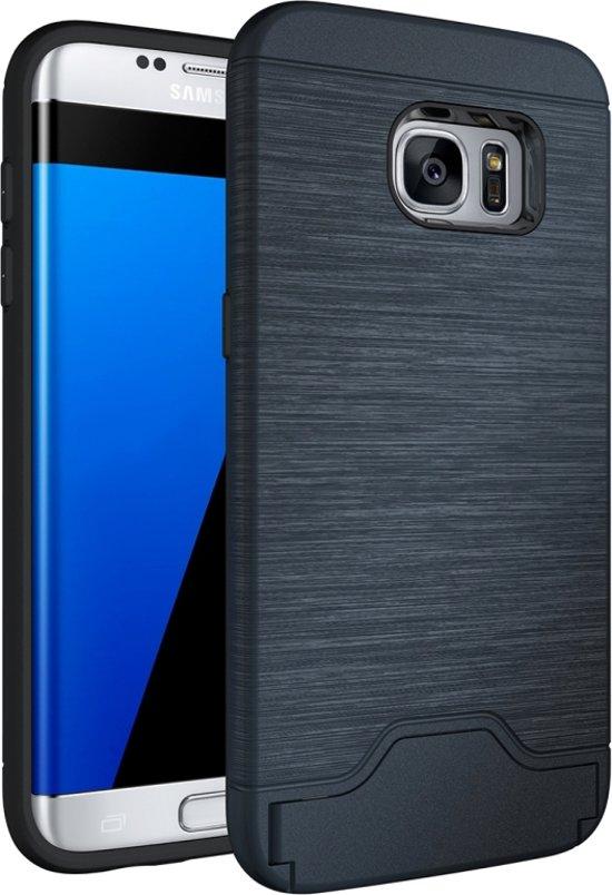 For Samsung Galaxy S7 Edge / G935 Brushed structuur scheidbaar TPU + PC combinatie Back hoesje met Card Slot & houder(donker blauw)