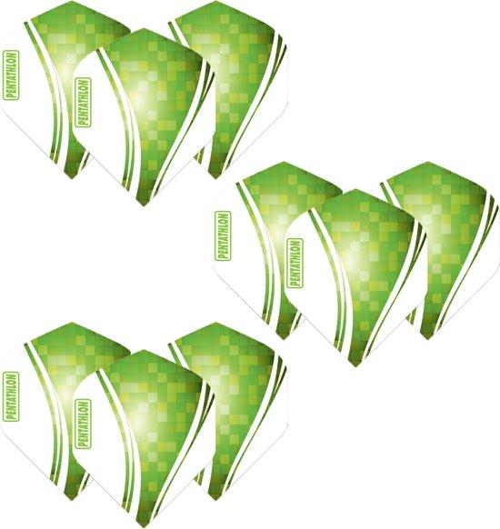 Pentathlon Wave - sterke flights - Groen  - Dragon darts - 3 Sets (9 stuks) - darts flights