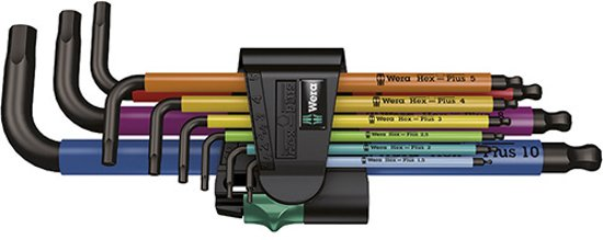 Wera 9-delige set inbussleutels multicolor