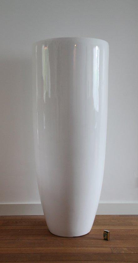 Bloempot Binnen Wit.Bol Com Bloempot Fiberstone Hoogglans Wit 120cm Voor Binnen En Buiten