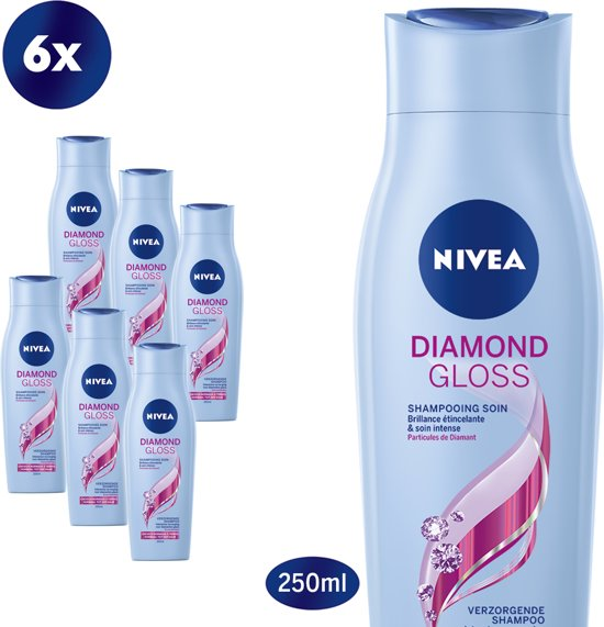 NIVEA Diamond Gloss Care Shampoo - 6 x 250 ml - Voordeelverpakking