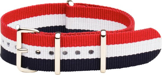 Premium Red White Blue - Nato strap 22mm - Stripe - Horlogeband Rood Wit Blauw + Luxe pouch