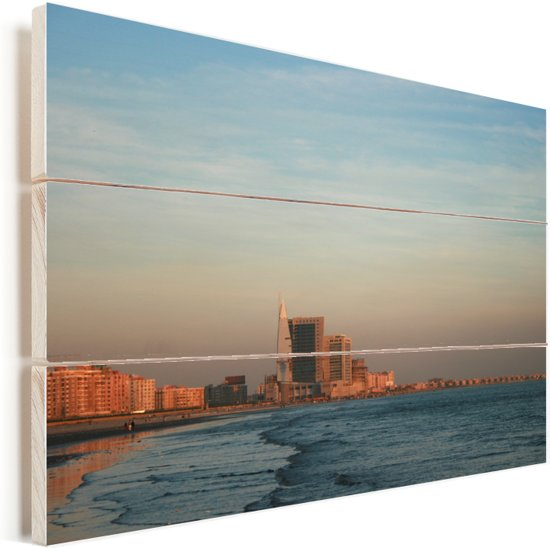 Uitzicht op de zee en Karachi in Pakistan Vurenhout met planken 30x20 cm - klein - Foto print op Hout (Wanddecoratie)