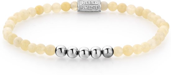 Rebel&Rose armband - Ivory Beige - 4MM - Silver Colored - S (16,5CM)