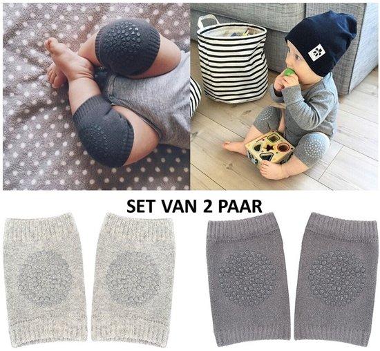 Set van 2 paar baby kniebeschermers - lichtgrijs en donkergrijze baby kniepads - unisex - one size