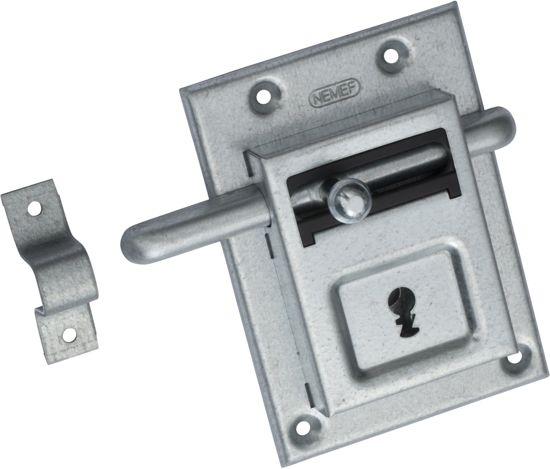 Nemef opleg grendelslot 98/12 - Met sluitbeugel - Met 2 sleutels - Met bevestigingsmateriaal - In zichtverpakking