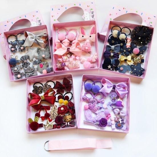 Geschenkset haaraccessoires meisje | speldjes knipjes haarbandje elastiekjes | design | origineel kado | Olifantje strikje glitter ster