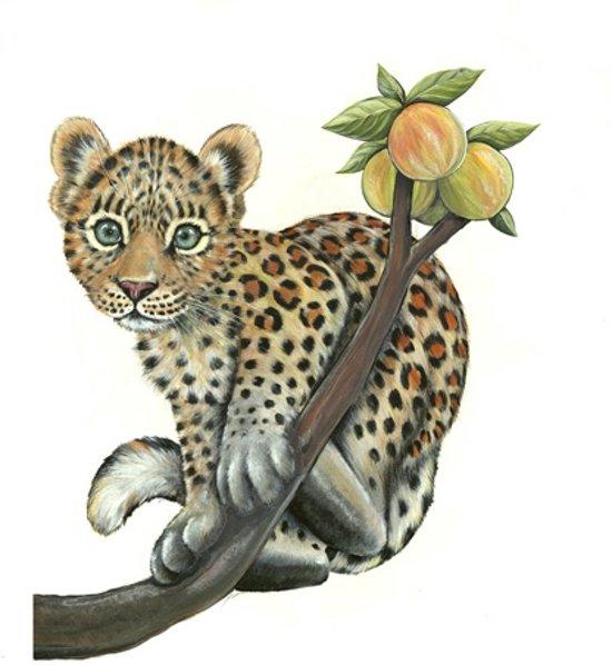 bolcom muursticker baby luipaard op tak