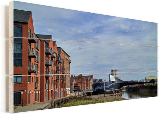 De Scale Lane Swing Bridge in Kingston-upon-Hull Vurenhout met planken 40x20 cm - Foto print op Hout (Wanddecoratie)