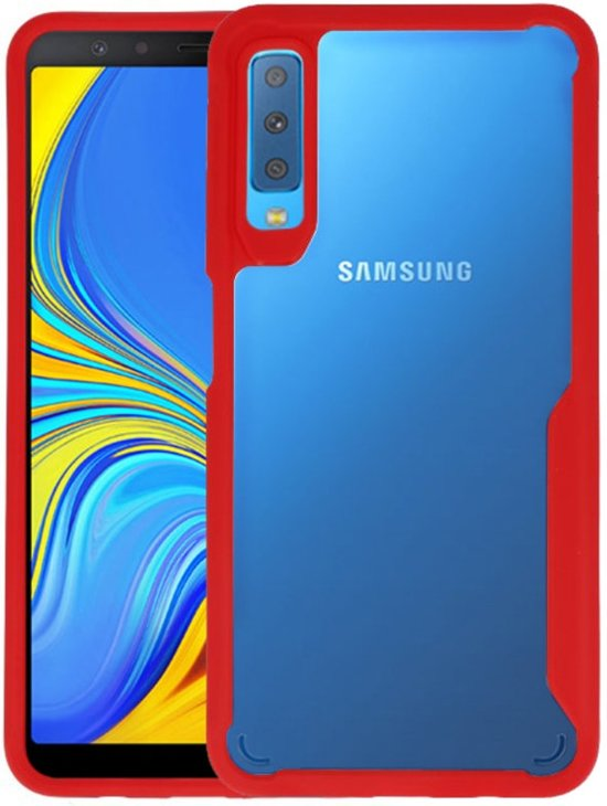 Focus Transparant Hard Cases voor Samsung Galaxy A7 2018 Rood