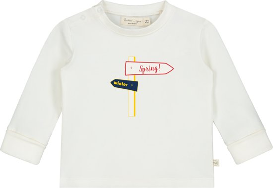 Smitten Organic - Upcycled 'De Lente Wegwijzer' Lange Mouwen T-Shirt - Marshmallow - Maat 92