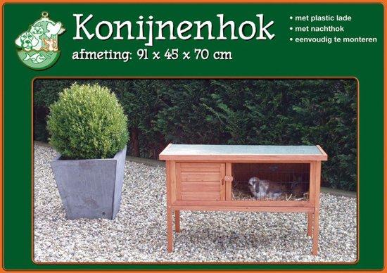 Houten Konijnenhok met Plastic Lade - Bruin - 91x45x70 cm