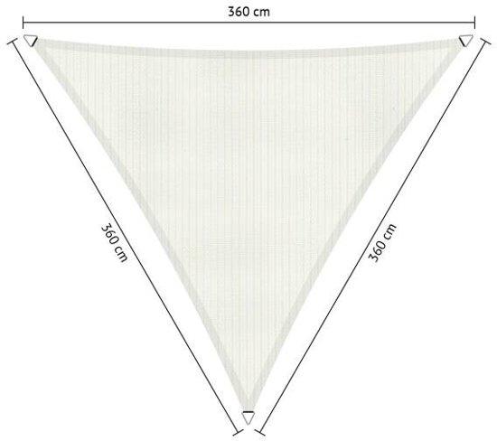 Schaduwdoek. Driehoek. Wit. Van den Eijnde. Zeer sterk 285 grams/m2 HDPE doek.