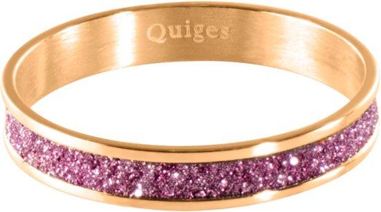 Quiges Stapelring Ring - Vulring Roze Glitter - Dames - RVS roségoudkleurige - Maat 21 - Hoogte 4mm