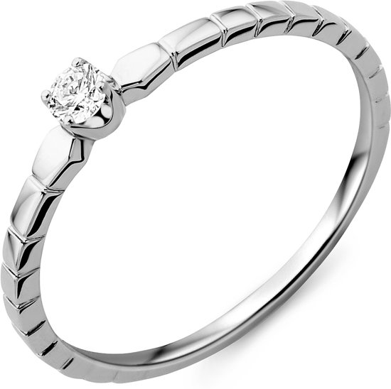 Majestine 9 Karaat Solitair Ring Witgoudkleurig (375) Met Diamant 0.08ct Maat 56