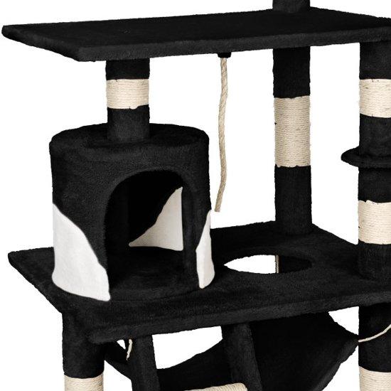 TecTake - Katten kitten krabpaal klimpaal - Stokely - 141cm - zwart wit - 402278