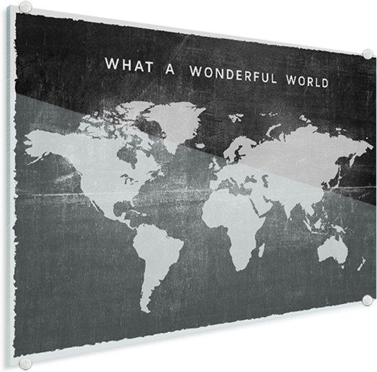 Wereldkaart Vintage Plexiglas voor aan de Muur Zwart 90x60 cm