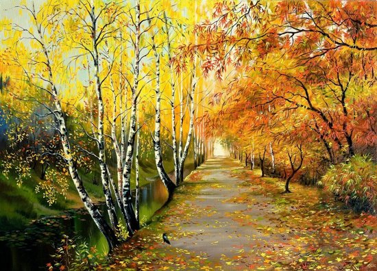 Papermoon Autumn Road Vlies Fotobehang 250x186cm 5-Banen