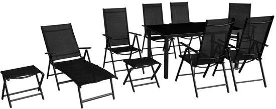vidaXL tuinset zwart - 6 stoelen en 1 ligstoel - 1 tafel en 2 voetenbankjes