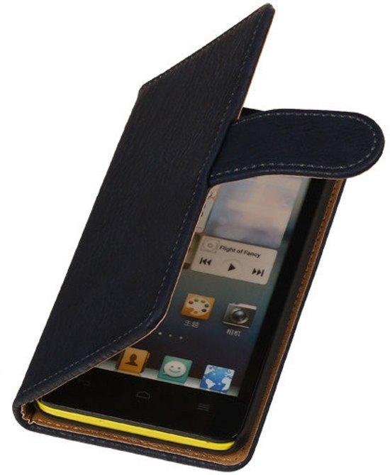 MP Case Blauw Houtlook Huawei Ascend G610 Wallet Book Case in Kleine Wiske