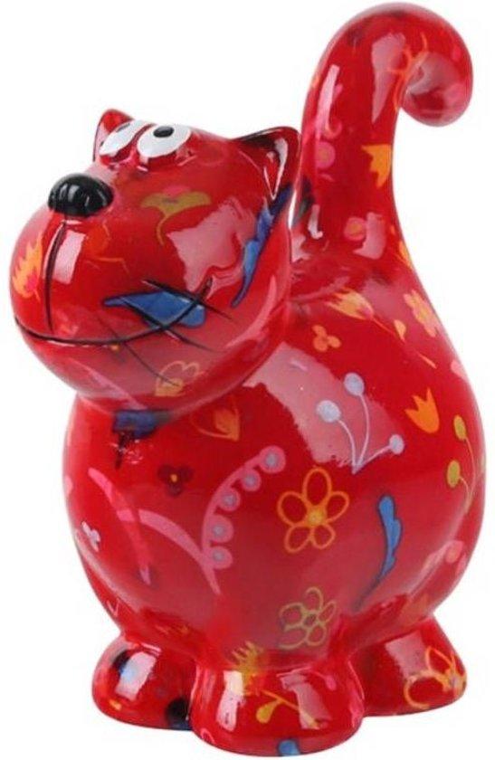 Pomme Pidou spaarpot kat Dorothy - Uitvoering - Rood met bloemen