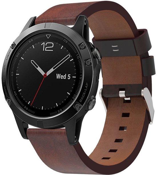 Lederen Armband Voor Garmin Fenix 5 (Plus) Sapphire / Forerunner 935/945 Horloge Band Strap - 22MM Sportband Polsband - Quickfit - Small/Large - Bruin