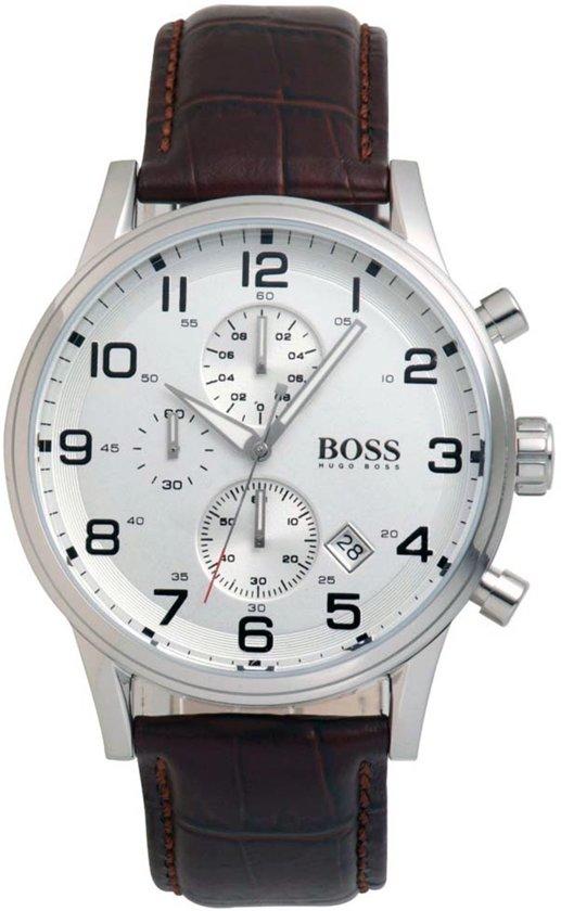 Hugo Boss HB1512447 Horloge - Leer - Bruin - 44 mm