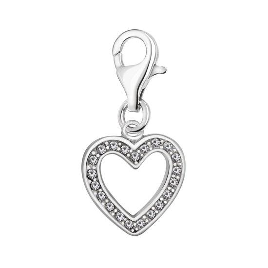Quiges - 925 Zilver Charm Bedel Hanger Hart met Zirkonia - HC051