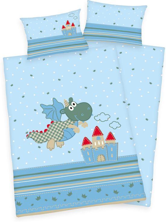 Ledikant dekbedovertrek Happy Dragon - Blauw - Ledikant (100x135 cm + 1 sloop)