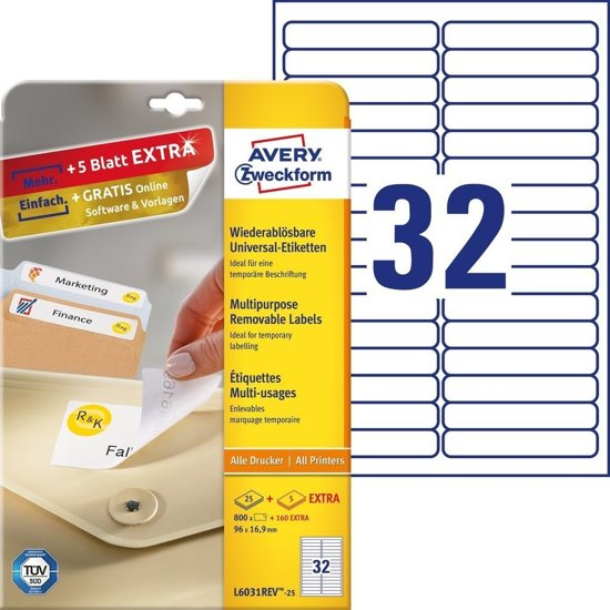 Avery Removable Labels 96 x 16,9mm (25)