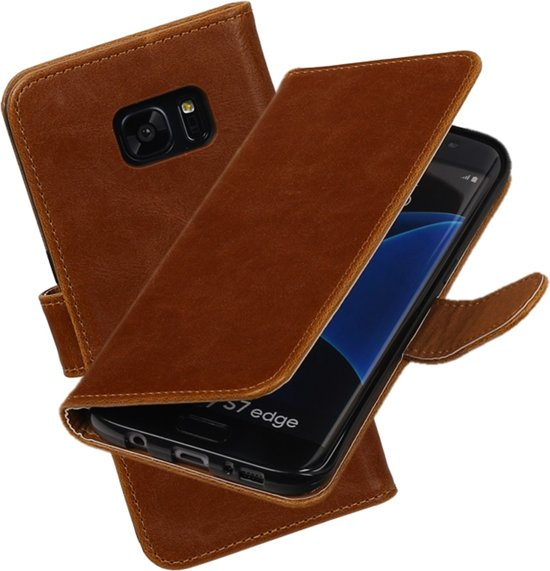 MP Case Bruin Vitage lederlook PullUp Map voor de Samsung Galaxy S7 edge wallet cover - book case - hoesje in Rolde